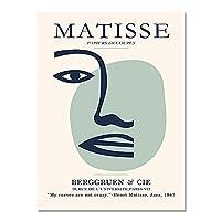 マティス抽象顔壁アートキャンバス絵画、北欧のポスターとプリント、フレームレス装飾キャンバス絵画 A3 20x30cm