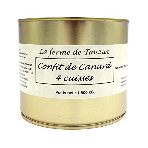 Confit de Canard 4 cuisses du Sud-Ouest - Sans substances controversées - Elevage en plein air - La Ferme de Tauziet