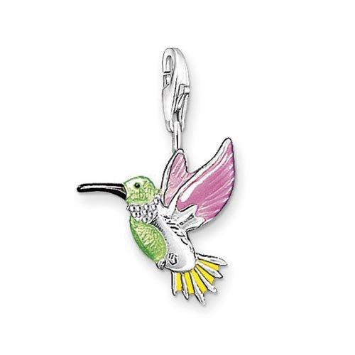 Thomas Sabo 0655-007-7 Kolibri Charm Anhänger Silber grün/pink/gelb emailliert