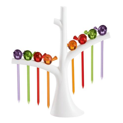 Koziol Piekser mit Baum Partyzubehör [PI: P], 4x 17x 19,2cm, Kunststoff, orange/Oliv/Pflaume/rot, one Size