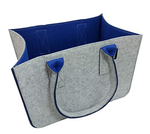 Tebewo Shopping-Bag aus Filz, große Einkaufs-Tasche mit Henkel, Einkaufskorb, Faltbare Kaminholztasche zur Aufbewahrung von Holz, vielseitige Tragetasche, Farbe grau (grau/blau)
