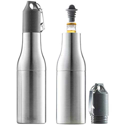 Premium Double-Wall stainless steel Beer Cooler - Insulated Beer Bottle Holder With With Build in Beer Opener - Neoprene Sleeve To Secure Glass bottle - Beer Holder For partying, Camping, Hiking, Etc.