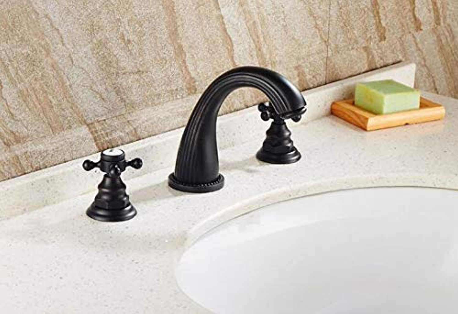 Mkkwp Bathroom Faucet Solid Brass Construction Hot and Cold Orb Finish 8' Widespread Basin Faucet Bathroom Sink Tap