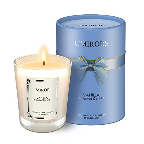 UMIRORS Scented Candles Gift Set,Natural Soy Wax 8.1oz Glass Jar Candles,Highly Scented & Long Lasting Aromatherapy Vanilla Candles for Home