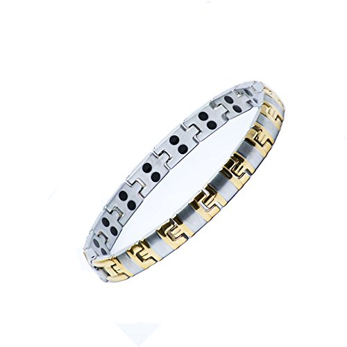 Double Strength Ladies Pure Titanium Magnetic Bracelet. Relief of HOT FLUSHES, Menopause, Arthritis, Joint Muscle Pain, Rheumatism. Includes Free Link(s) Adjustment Tool with 5 Spare Pins