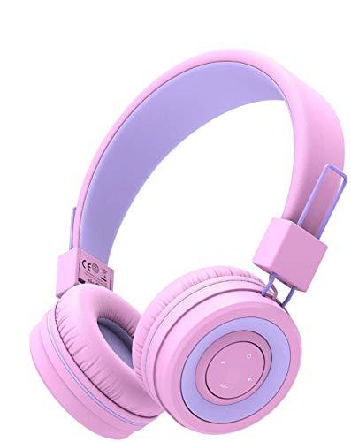 iClever Bluetooth Cuffie per Bambini, Cuffie per bambini con microfono, Fascia regolabile per il controllo del volume, Pieghevole, Cuffie per bambini sull'orecchio
