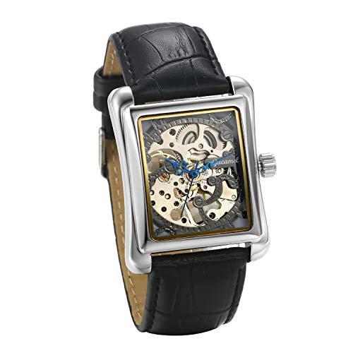 JewelryWe Herrenuhr Analog Automatik Uhr Automatische Mechanische Leder Band Rechteck Skelett Armbanduhr Automatikuhr, Silber
