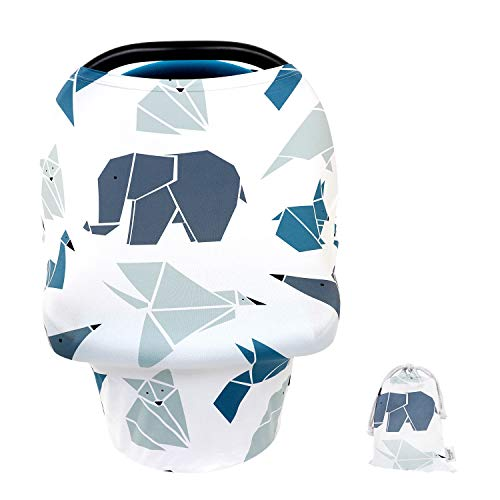 Baby Car Seat Covers with Pouch,Multi-Use Nursing Breastfeeding Canopy Cover,Soft Stretchy Breathable Infant Carseat Canopy for Boys&Girls,Shopping Cart/High Chair/Stroller Covers(Origami Forest)