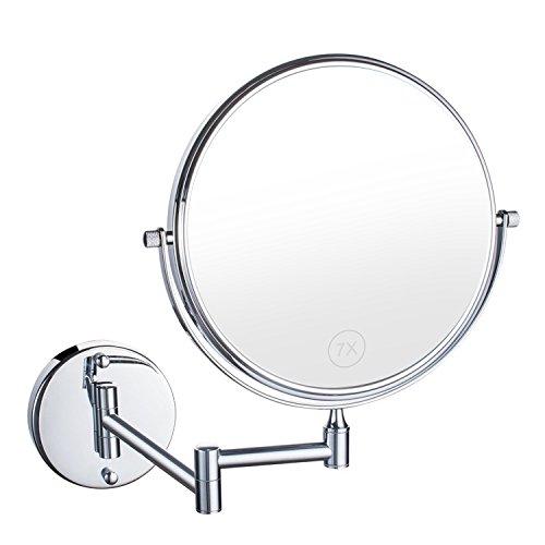 Uniquebella 8 pouces Miroir mural Grossissant x10 fois grossissement-Extension Pliant-Rond-Double Face-360 degr/és rotation