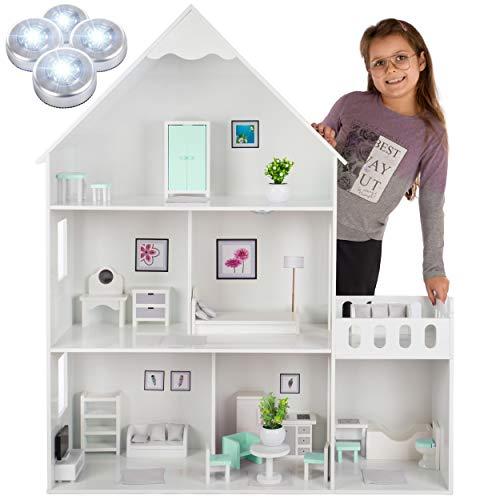 Kinderplay casa delle bambole in legno – versione con elementi menta, 38 accessiori nel set, altezza 118 cm, bambola delle dimensioni 30 cm, modello GS0023A