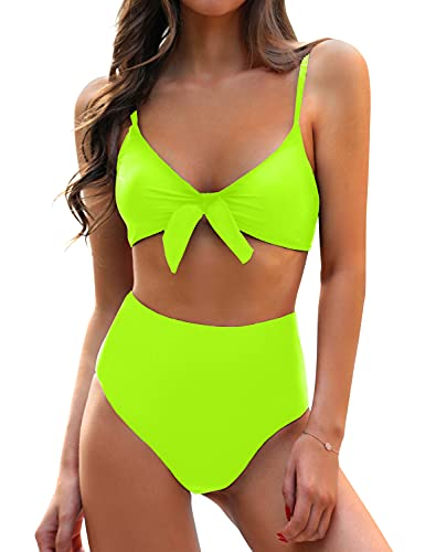 Blooming Jelly Womens High Waisted Bikini Set Tie Knot High Rise Two Piece Swimsuits Bathing Suits (Medium, Neon Green)