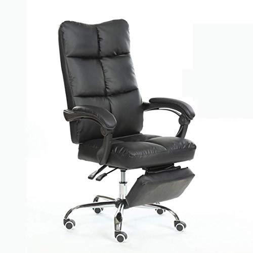 Silla de escritorio de oficina, silla de escritorio, silla de salón, ergonómica, respaldo alto, de piel sintética tapizada con reposapiés ajustable (color negro)