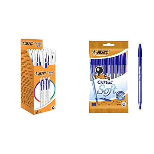 BIC Cristal Up bolígrafos punta media (1,2 mm) – Azul, Caja de 20 unidades + Soft Bolígrafos Punta Media (1,2 mm) con escritrua suave - Azul, Blíster de 10 Unidades - ideal para uso diario