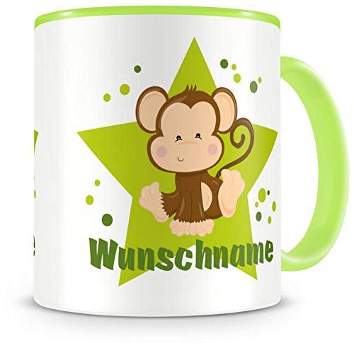 Samunshi® Kinder-Tasse mit Namen und einem Affe als Motiv Bild Kaffeetasse Teetasse Becher Kakaotasse Nr.8: grün H:95mm / D:82mm