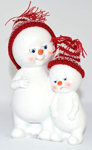 Schneemann Figur Poly mit Strickmütze • 3 Motive zur Auswahl • Schneemänner Winter Weihnachten Weihnachtsdekoration Schneekinder (Maman mit Kind 2er Set (2x die gleichen)15cm)