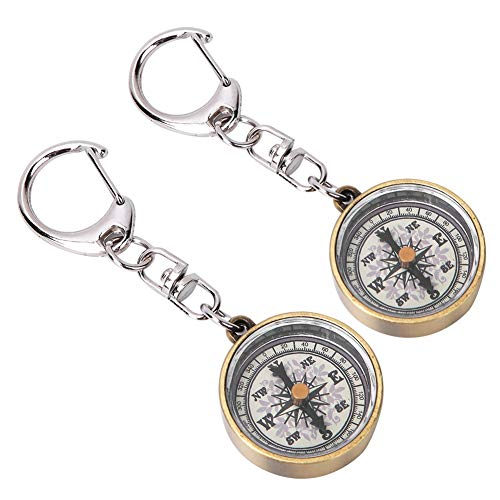 Vbestlife Pack of 2 Keychain Compass, Vintage Outdoor Camping Hiking Navigation Tool Zinc Alloy Pocket Compass