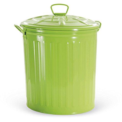 VERDELOOK Bidone per rifiuti con Coperchio, Verde, capienza 18 Litri, Cestino pattumiera immondizia Spazzatura