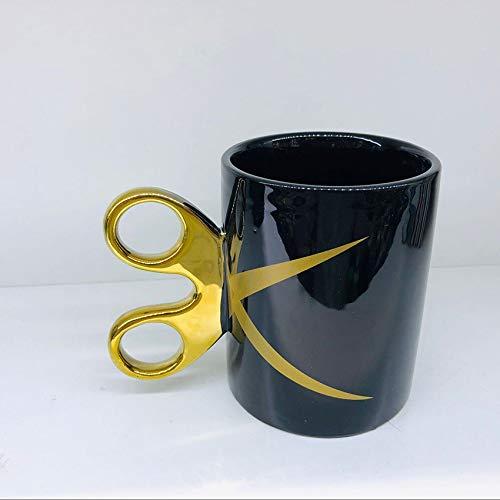 QWJYREMN Taza De Café De Porcelana Duradera Taza De Café De Cerámica con Tijeras Doradas Mango Taza Creativa Taza para Leche De Té De Café Personalizado Oficina De Agua
