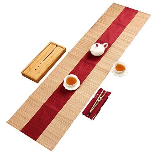 Camino De Mesa De Bambú Zen Chino, Mantel Retro con Franela Roja, Tapete De Té Decorativo para Cocina Casera, Tapete De Mesa Antideslizante/Aislante Térmico(Size:30×150cm)