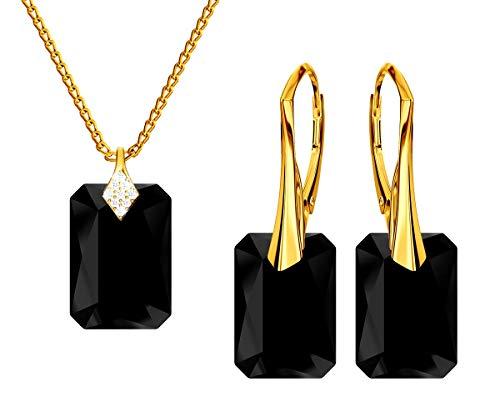 *Beforya Paris* Novedad esmeralda *Jet* - Plata 925 / Bañada en oro de 24 K - Juego de joyas para mujer - joyas con cristales de Swarovski Elements - Pendientes y collar con caja de regalo