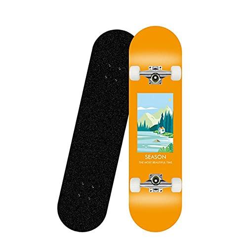 zhzhtac Skateboard, 80X20CM Komplettes Skateboard, Kanadisches 7-Schicht Ahornholz, Geeignet für Erwachsene und Kinder Stunt Skateboard-4.