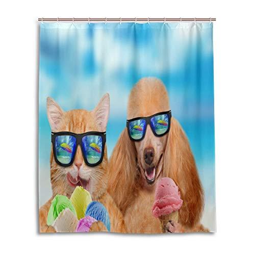 CLSNMSNHEBG Cortina de ducha de 152 x 182 cm, con ganchos, gato y perro, con gafas de sol, para comer helado, decoración del hogar, poliéster impermeable para baño