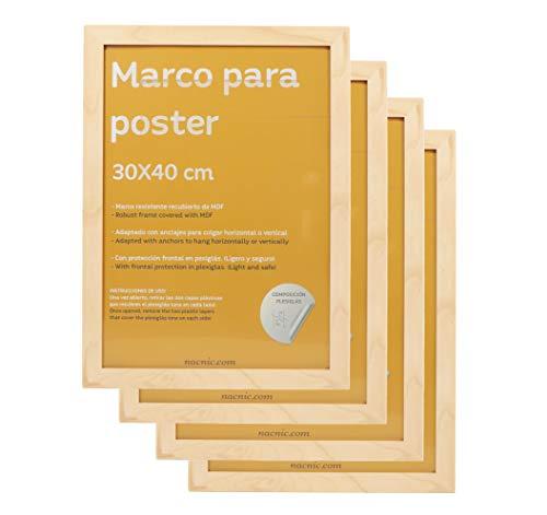 Nacnic set met 4 fotolijsten. Afmetingen: 30 x 40 cm. Robuuste MDF-plaat en plexiglas-voorkant. Frame van walnoothout om op te hangen of neer te zetten in staand of liggend formaat.