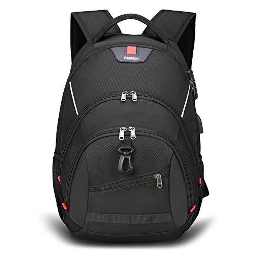 Breold Laptop Rucksack Herren für 17.3zoll Laptop, Anti-Diebstahl & Wasserdicht, Schulrucksack Jungen Teenager mit USB Ladeanschluss für Schule Arbeit (schwarz-2)