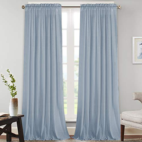 Natural Rich Linen Curtains Semi Sheer for Bedroom/Living Room/Dining   Rod Pocket Textured Flax Window Curtain Drapes Privacy Added Light Reducing Soft Curtains 2 Panels (Stone Blue, 52\' W x 1