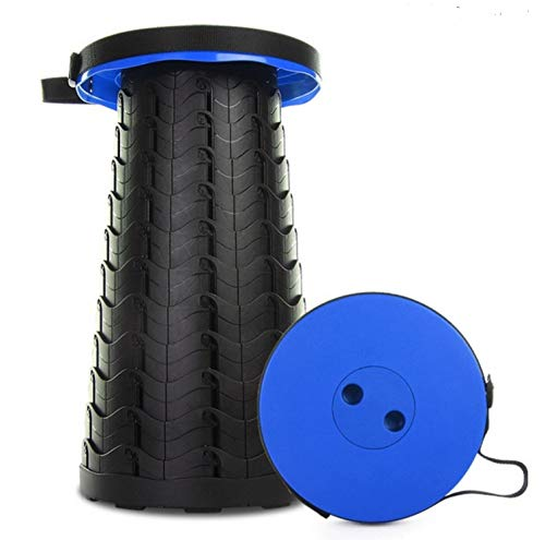 Taburete plegable para silla portátil, telescópica, retráctil, ligero, resistente, ajustable, plegable (azul)