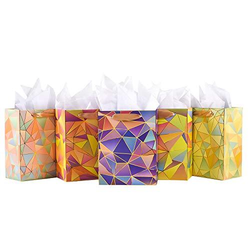 Gift Bags Medium Size Set, 5 Pack Assorted Small Bulk Birthday Gift...