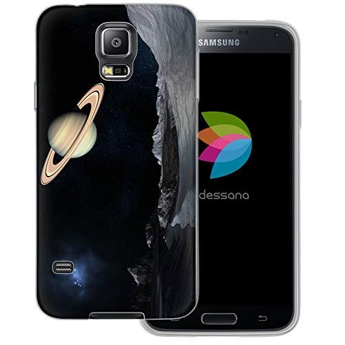 dessana Universum transparente Schutzhülle Handy Case Cover Tasche für Samsung Galaxy S5/Neo Weltraum Saturn