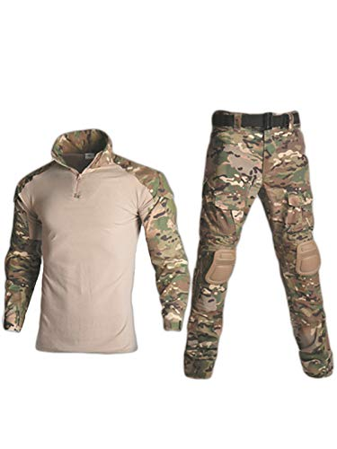 HARGLESMAN - Traje militar táctico de manga larga para hombre y camisa de combate con rodilleras, Acolchado, L, Negro camuflado