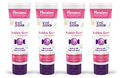 Himalaya Botanique Kids Bubble Gum Toothpaste, 4oz (Natural, Fluoride Free & SLS Free) [4 PACK]