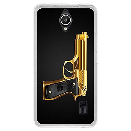 BJJ SHOP Funda Transparente para [ Huawei Y635 ], Carcasa de Silicona Flexible TPU, diseño: Beretta Dorada, Pistola