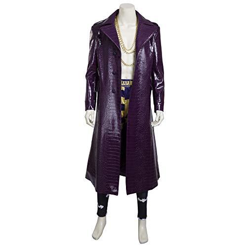 El Suicidio Task Force Escuadrón X Jerry De Lato Rompevientos Payaso Hombre Púrpura De La Capa De Piel Pantalones De Disfraces De Halloween Cosplay Para Adultos Purple-L