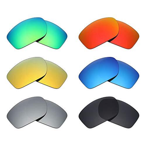 Mryok 6 Paar Gepolariseerde Vervangende Lenzen voor Oakley Klep Nieuw 2014 Zonnebril - Stealth Zwart/Vuur Rood/IJsblauw/Zilver Titanium/Emerald Green/24K Goud