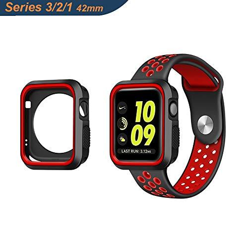 Adurei - Apple Watch 42mm Case Cover for Apple Watch Series 3 Series 2 Series 1, Diseño Ultra Silicona, Antirrayas, Resistente a Golpes y Roturas(Nero+Rojo)