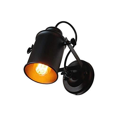 Wandlamp Retro Verstelbare Metalen Wandlamp Antieke Wandlamp Vintage Lampen Landelijke Stijl voor Landhuis Slaapkamer Woonkamer Eettafel (Zwart)