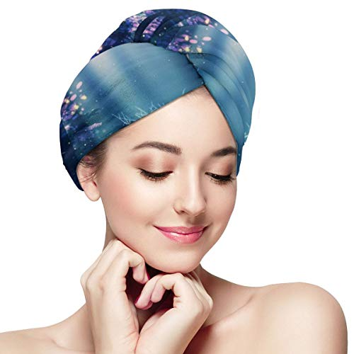 Forest Alone Deer Fairyland Dry Hair Cap Microfibre Hair Towel Wraps Ultra Absorbent Quick Dry Twist Turban with Button for Drying Curly Long Thick Hair 11¡± X 28¡±