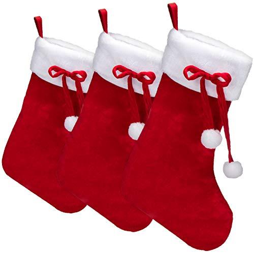 com-four® 3X Premium XXL Weihnachtsstrumpf zum Befüllen - Nikolausstiefel zum Aufhängen - Weihnachtsdekoration mit Bommel - Nikolausstrumpf 46 x 28,5 cm