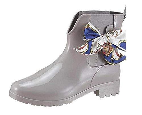 TOM TAILOR für Frauen Schuhe Kurze Gummistiefel mit Schleife lt.Grey, 38