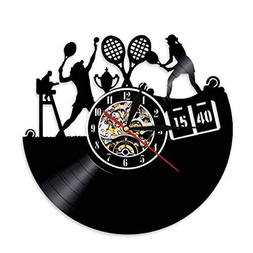 YINU International Sports Reloj de Goma Negro Jugador de Raqueta de Tenis contra Disco de Vinilo Reloj de Pared decoración del hogar decoración del hogar