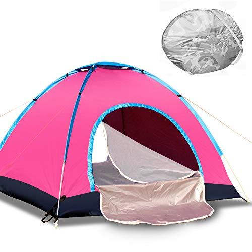 GLXQIJ Camping-Zelte FüR Familie 2-4 Person, Wasserdichtes Doppeltes Schicht-Hauben-Automatisches Knallen Oben Zelt, Ultraleichtes Wanderndes Wanderzelt,Pink,2People