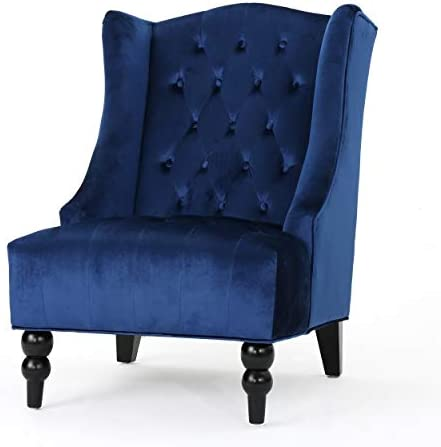 Best Christopher Knight Home Toddman High-Back Velvet Club Chair, Navy Blue