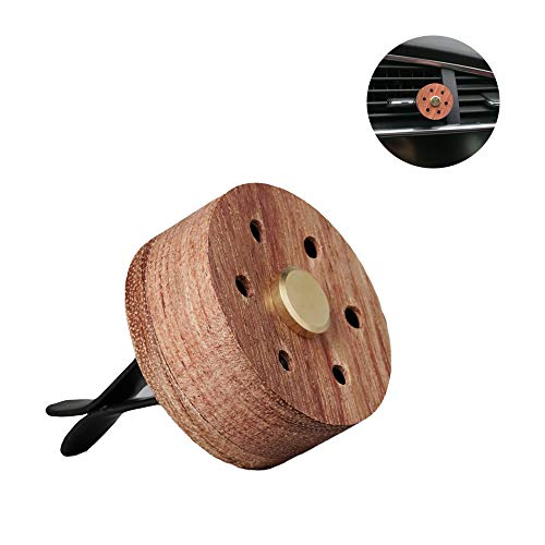 Yeejok Essential Oil Diffuser for Car with Vent Clip, Wooden Stainless Steel Lava Stone Aromatherapy Diffuser Locket Mini Air Freshener for Travel