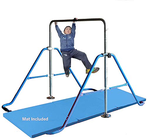 Kids Jungle Children Monkey Bar Gymnastics Athletic Expandable Kip Balance Bars Junior Training Play Gym Blue with 2Ft x 6Ft Gymnastic Mat