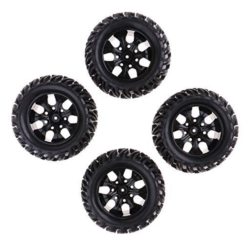freneci 4 Unids / Set Llanta de Rueda de Buje de 12mm Y Neumáticos de Goma para 1:10 RC Monster Truck