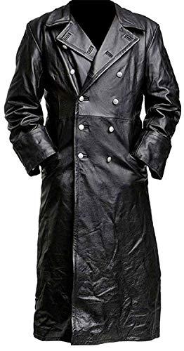 BFS Apparels Gabardina negra de cuero oficial clásico alemán