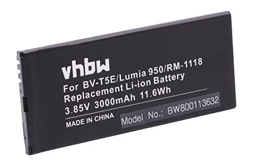 vhbw Li-Ion Akku 3000mAh (3.85V) für Handy Smartphone Handy Microsoft/Nokia Lumia 940, 940 XL, 950, Dual SIM, RM-110, RM-1104, RM-1106 wie BV-T5E.